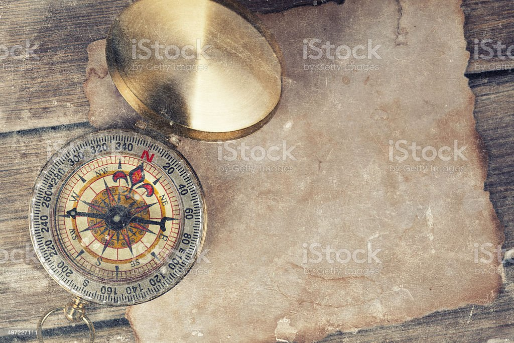 old treasure map with compass royalty-free stock photo