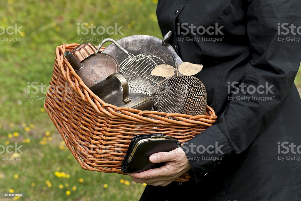 Old treasures at a flea market royalty-free stock photo