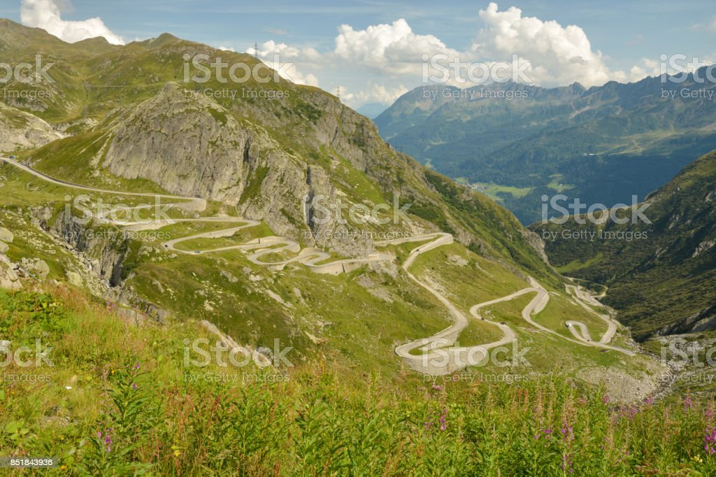 Old Tremola road to Gothard pass stock photo