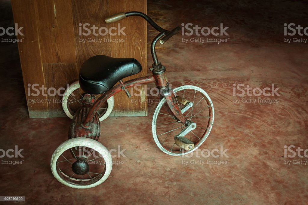 old tricycle stock photo