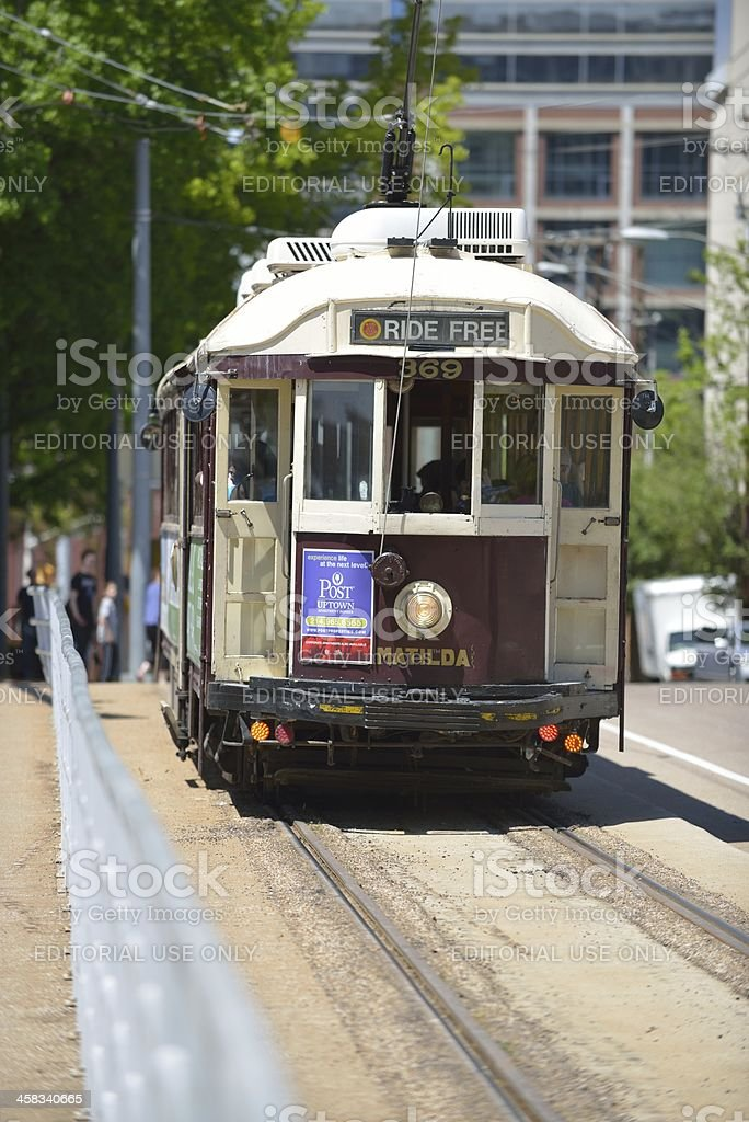 Old trolley car in downtown Dallas royalty-free stock photo