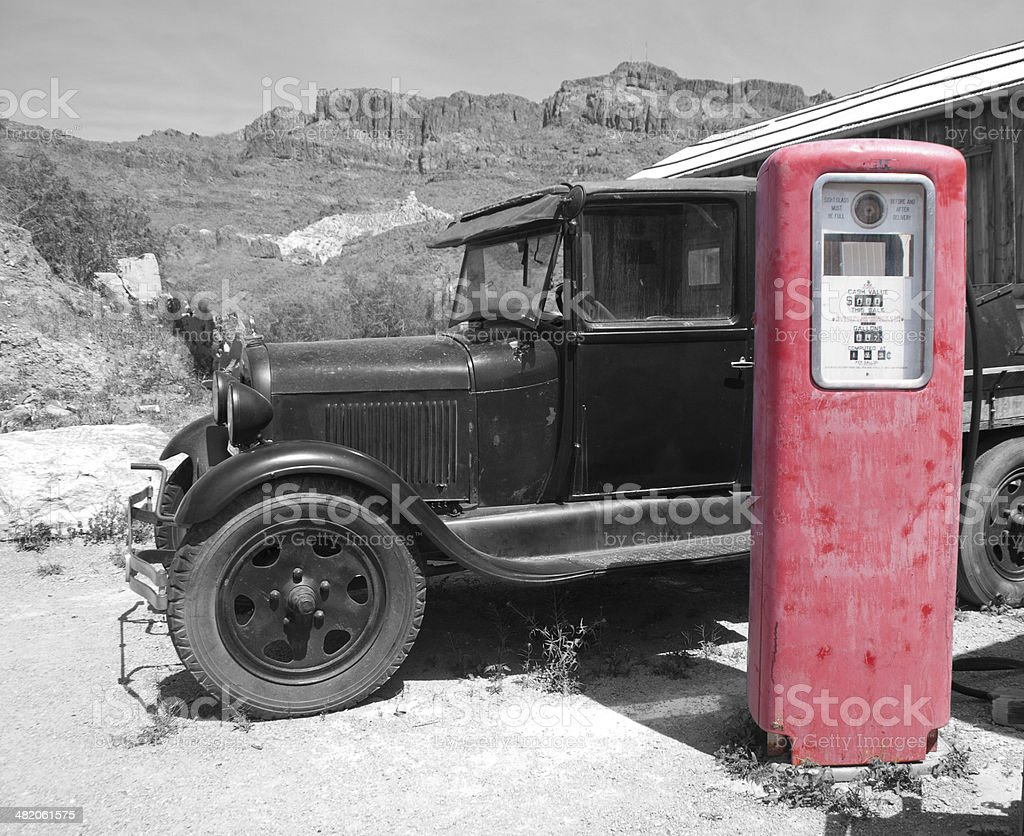 Old Truck and Gas Pump stock photo