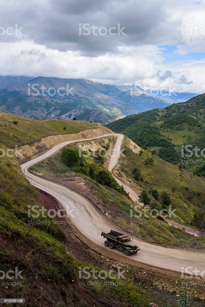 Old truck ascending to Sotk Pass in Nagorno-Karabakh stock photo