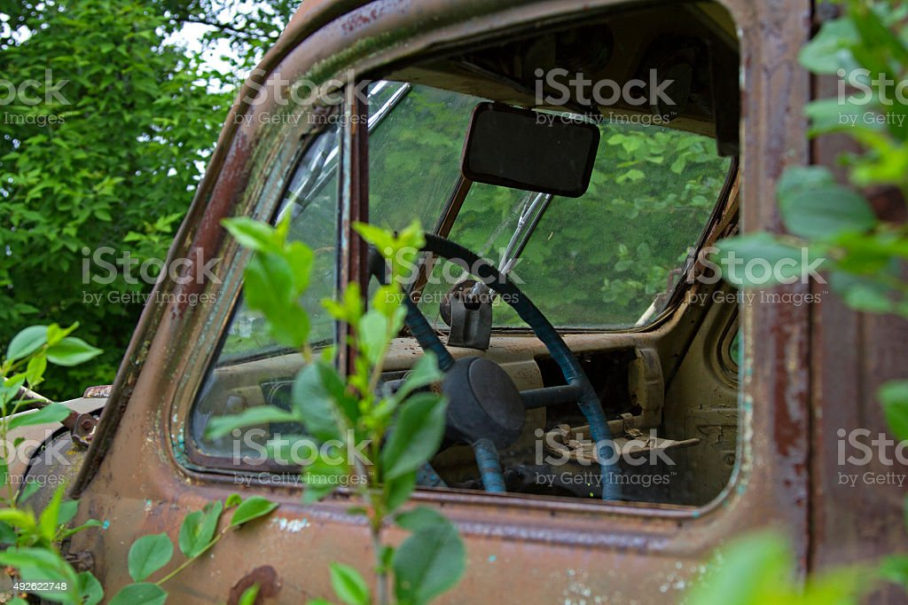old truck cab stock photo