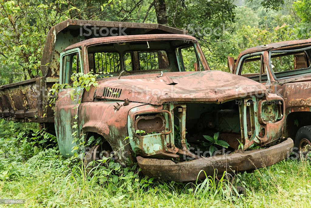 Old truck for the old mine at west of Thailand stock photo