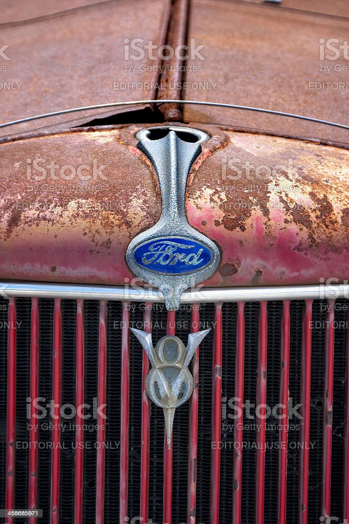 Old Truck Grille, 1930's Red Ford Flatbed V8 Close Up stock photo