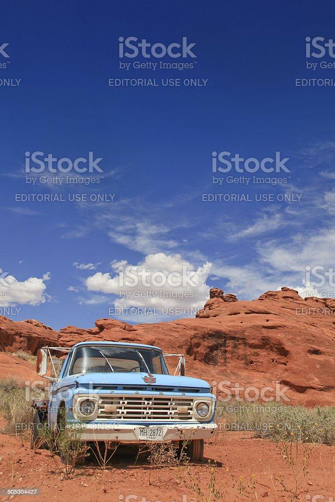 Old truck in the desert stock photo