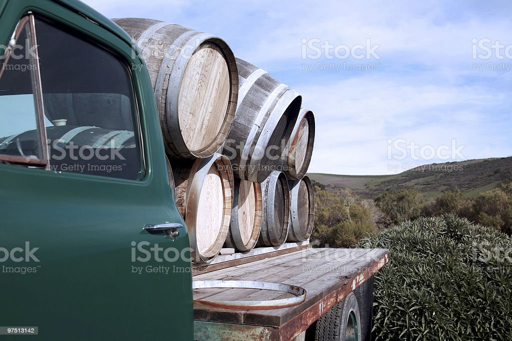 Old truck with wine barrels royalty-free stock photo