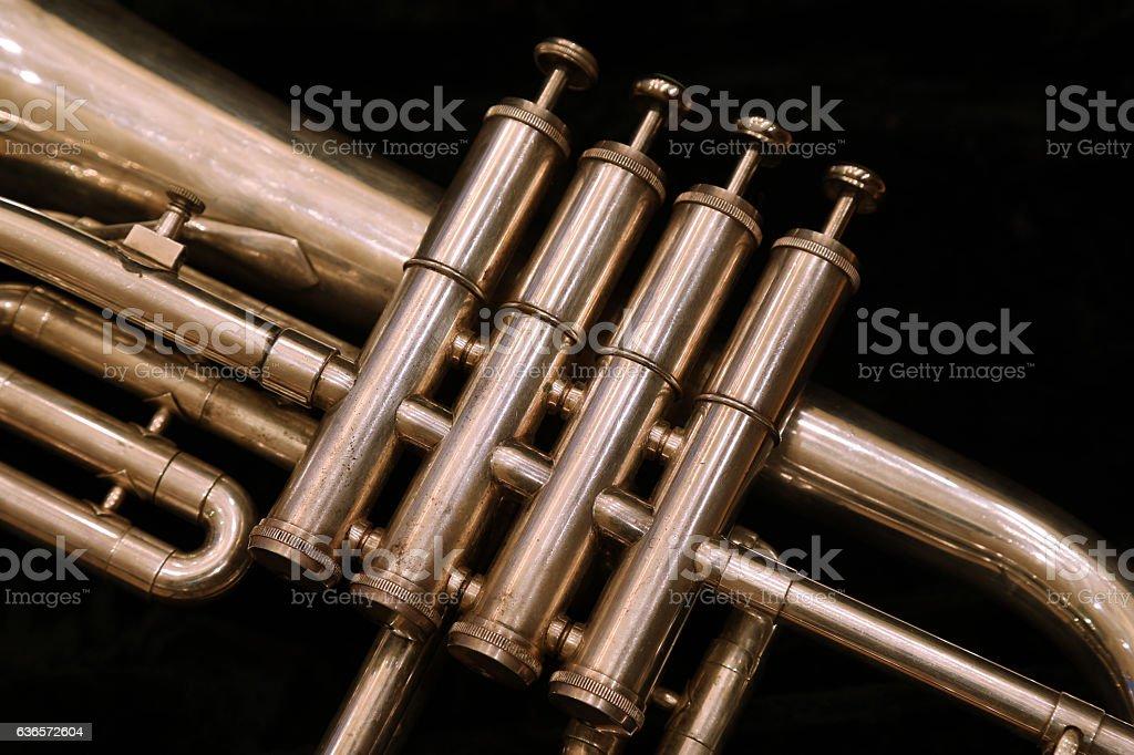 Old Trumpet Closeup stock photo