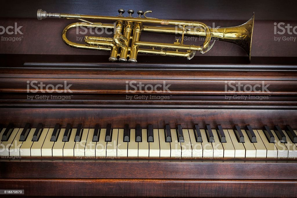 Old Trumpet Piano stock photo