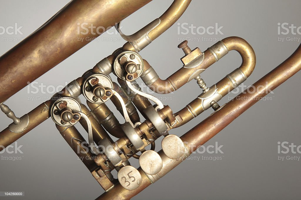 Old trumpet (detail) royalty-free stock photo