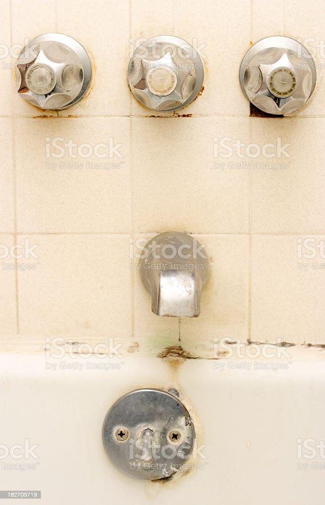 Old Tub with Toxic Mold Needing Renovation stock photo