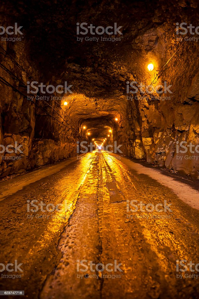 old tunnel at madeira island stock photo