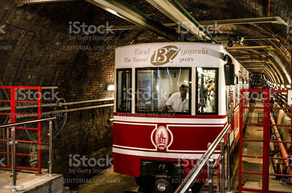 Old tunnel between Karakoy and Beyoglu stock photo