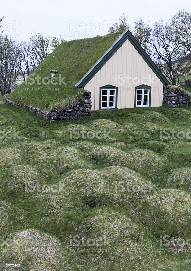 Old turf church and cemetery in Iceland royalty-free stock photo