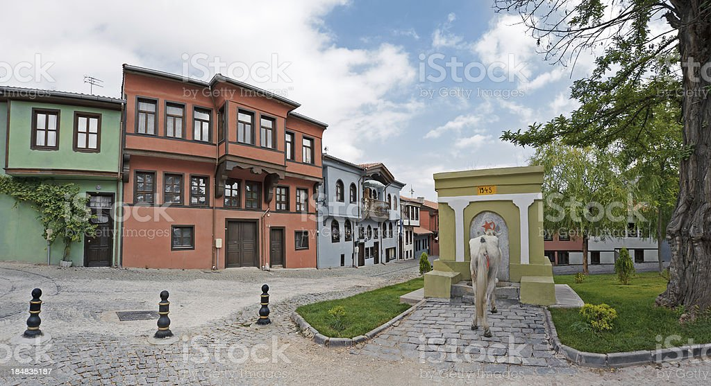 Old Turkish Houses in Eskisehir, Turkey stock photo