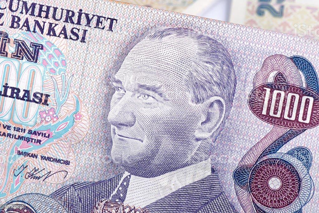 Old Turkish Lira, macro detail stock photo