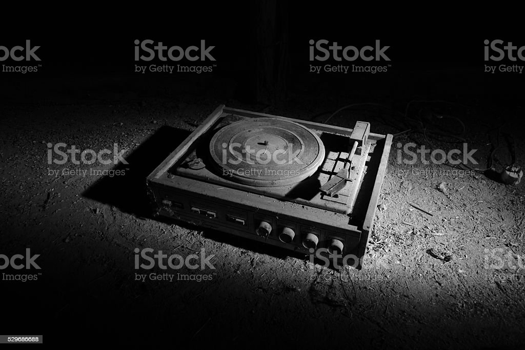 old turntable stock photo