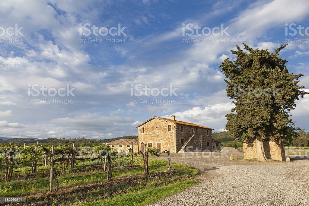 Old Tuscany farmhouse in the late afternoon royalty-free stock photo