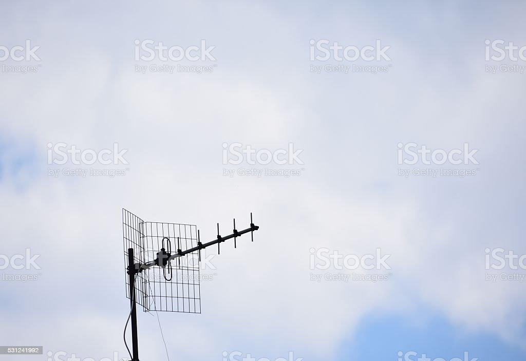 Old TV antenna stock photo