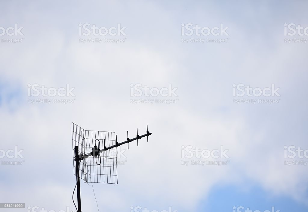 Old TV antenna stock photo