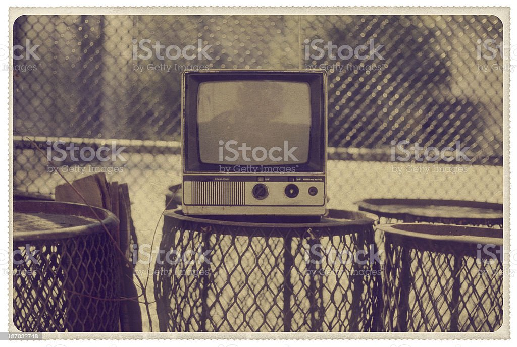 Old TV in New York City - Vintage Postcard royalty-free stock photo