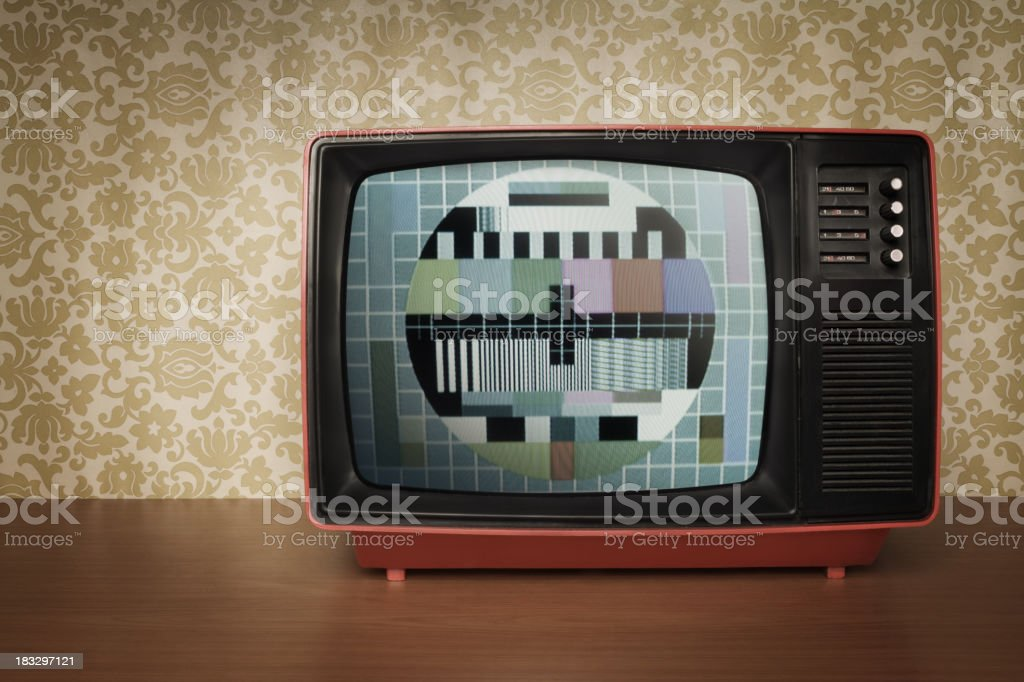 Old TV in Retro Style with Test Pattern on the Screen