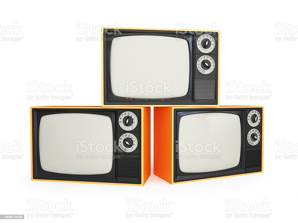 old tv isolated on a white background stock photo