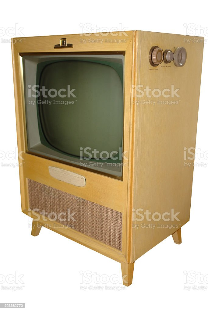 Old TV in Blonde wood cabinet