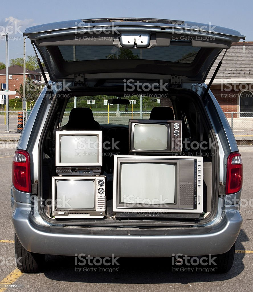 Old TV sets in a van stock photo