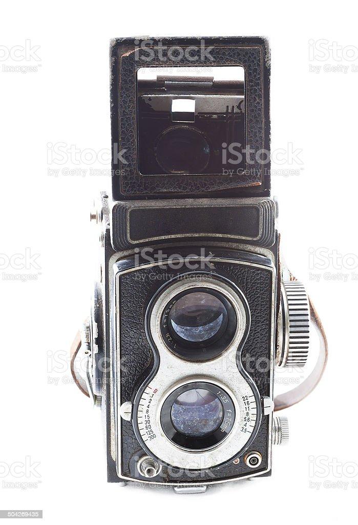 Old twin lens reflex stock photo