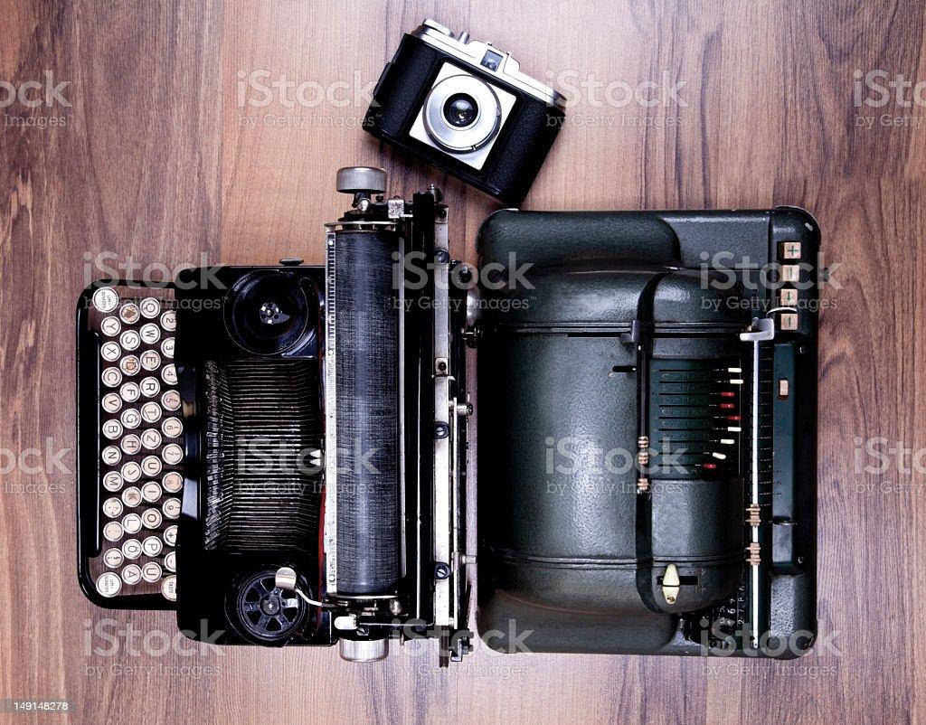 old type writer,calculator machine and camera royalty-free stock photo