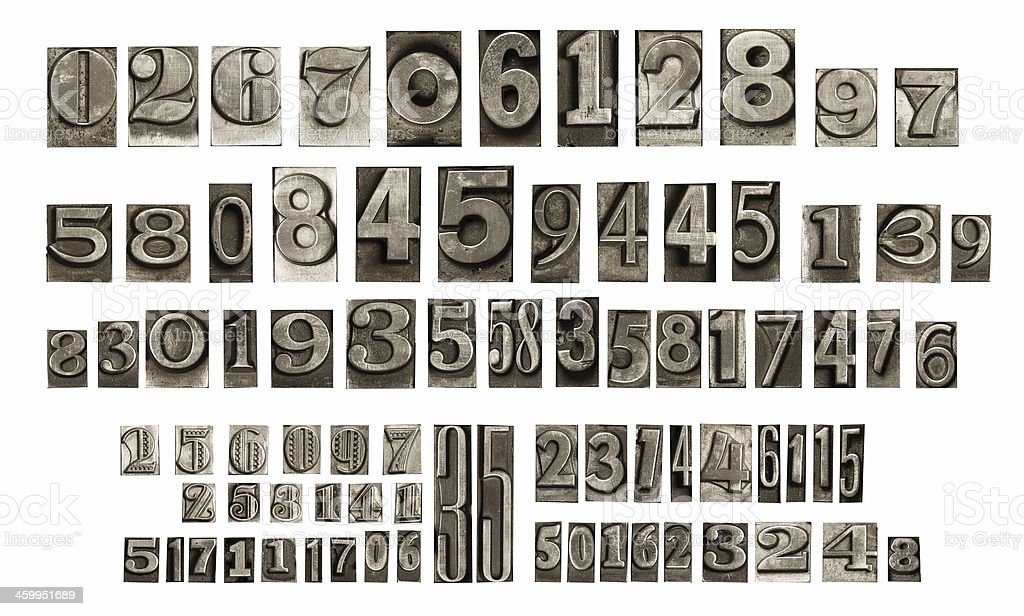 old typeset numbers stock photo