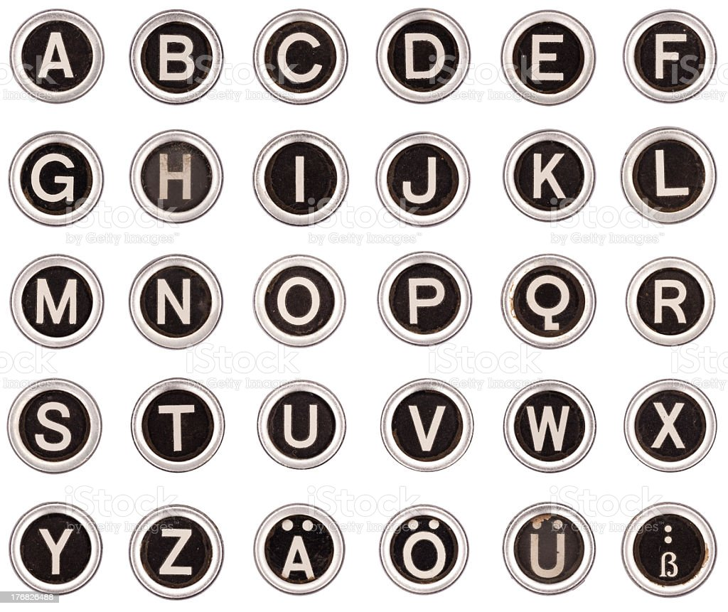old typewriter alpabet and letters abc royalty-free stock photo