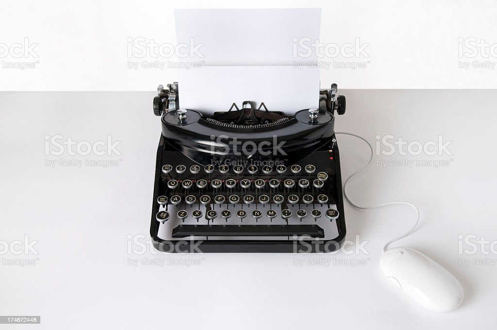 Old Typewriter & Mouse stock photo