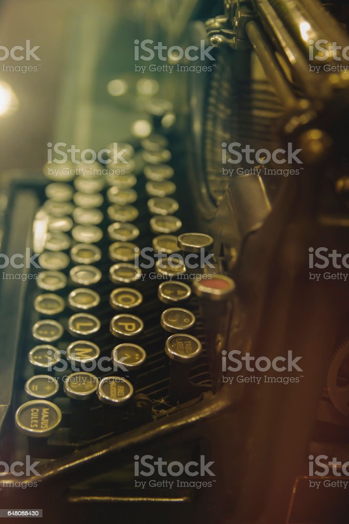 old typewriter close up stock photo