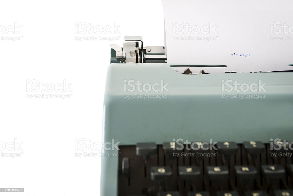 Old typewriter detail with the word vintage royalty-free stock photo