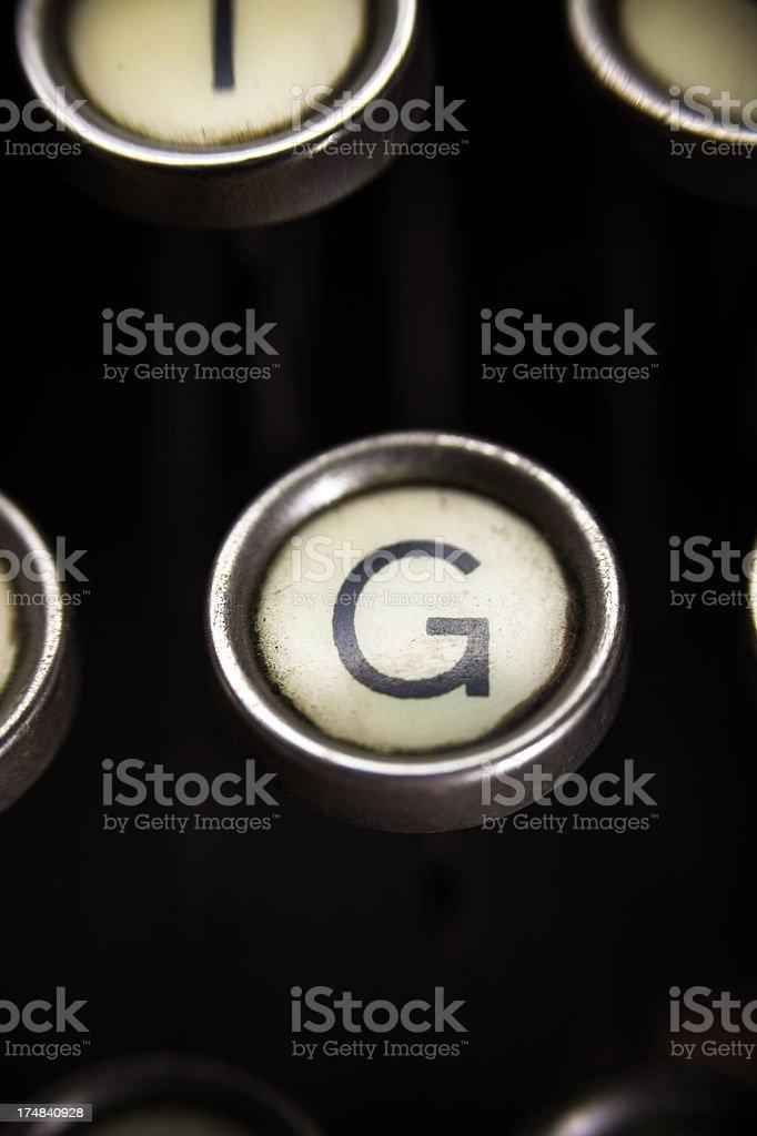 Old Typewriter - G Key royalty-free stock photo