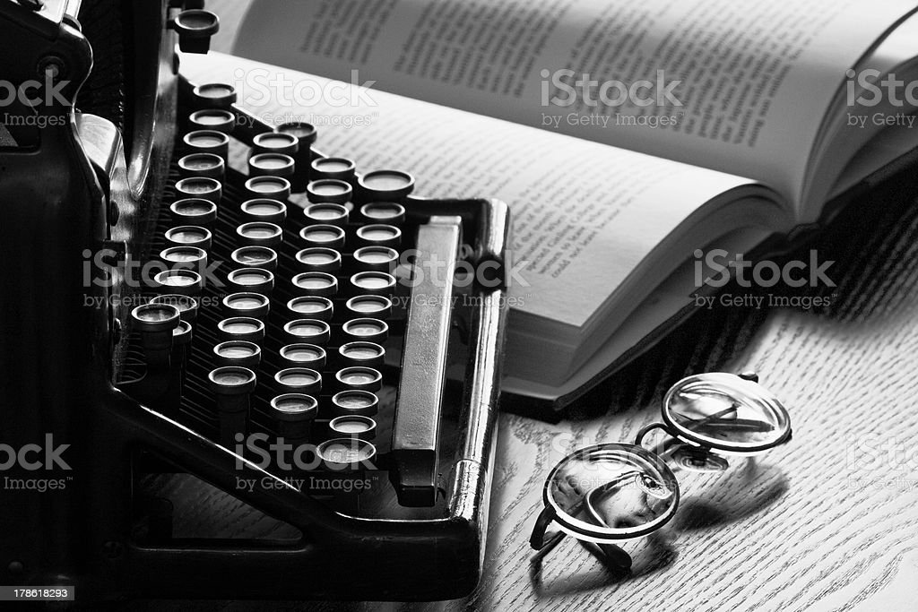 Old Typewriter, Glasses and Book royalty-free stock photo