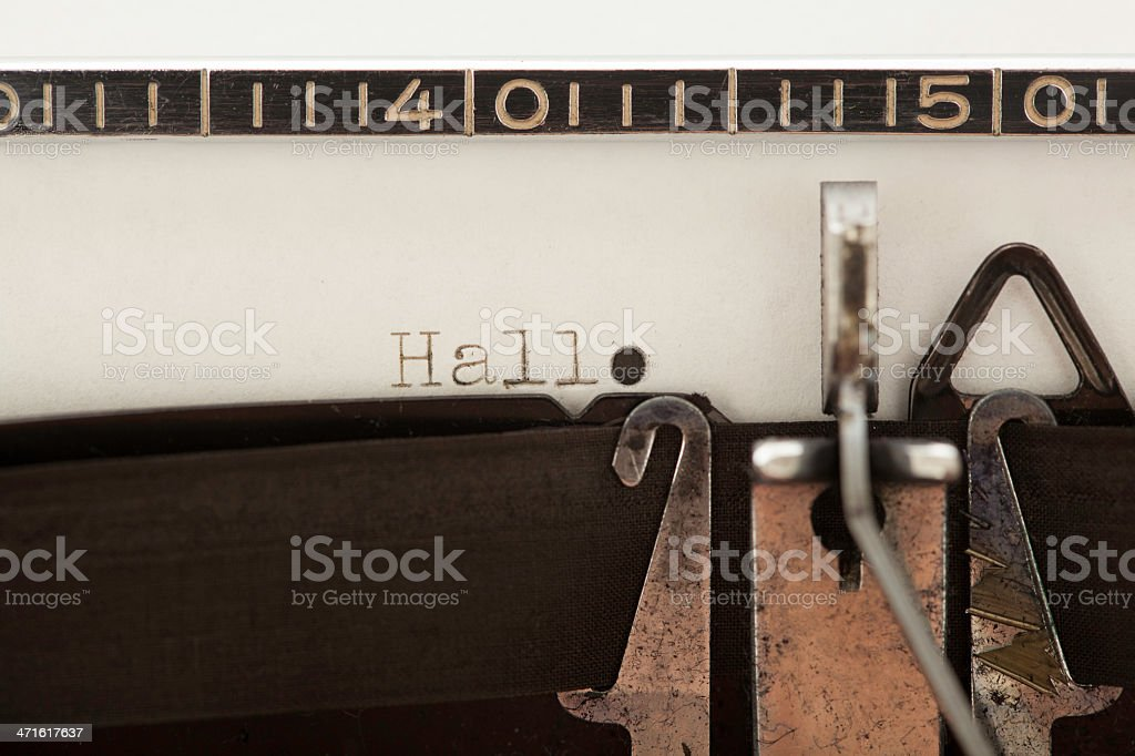 old typewriter - Hallo royalty-free stock photo