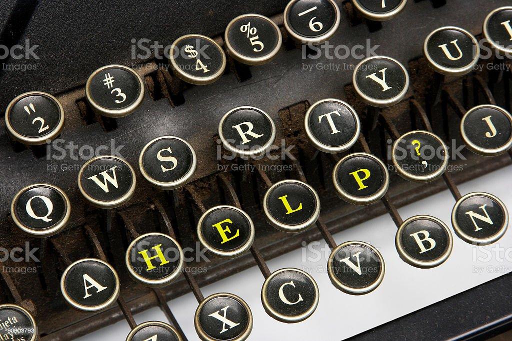 Old typewriter help royalty-free stock photo