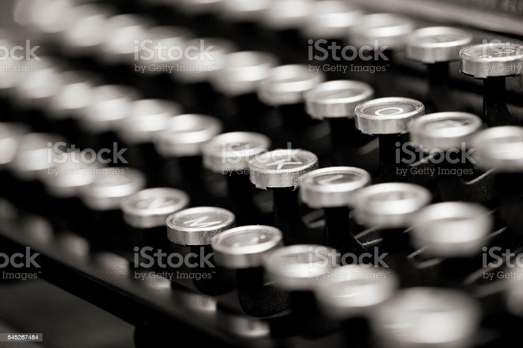 Old Typewriter Keyboard macro side view stock photo