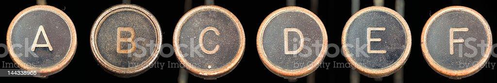 Old Typewriter Keys A-F royalty-free stock photo