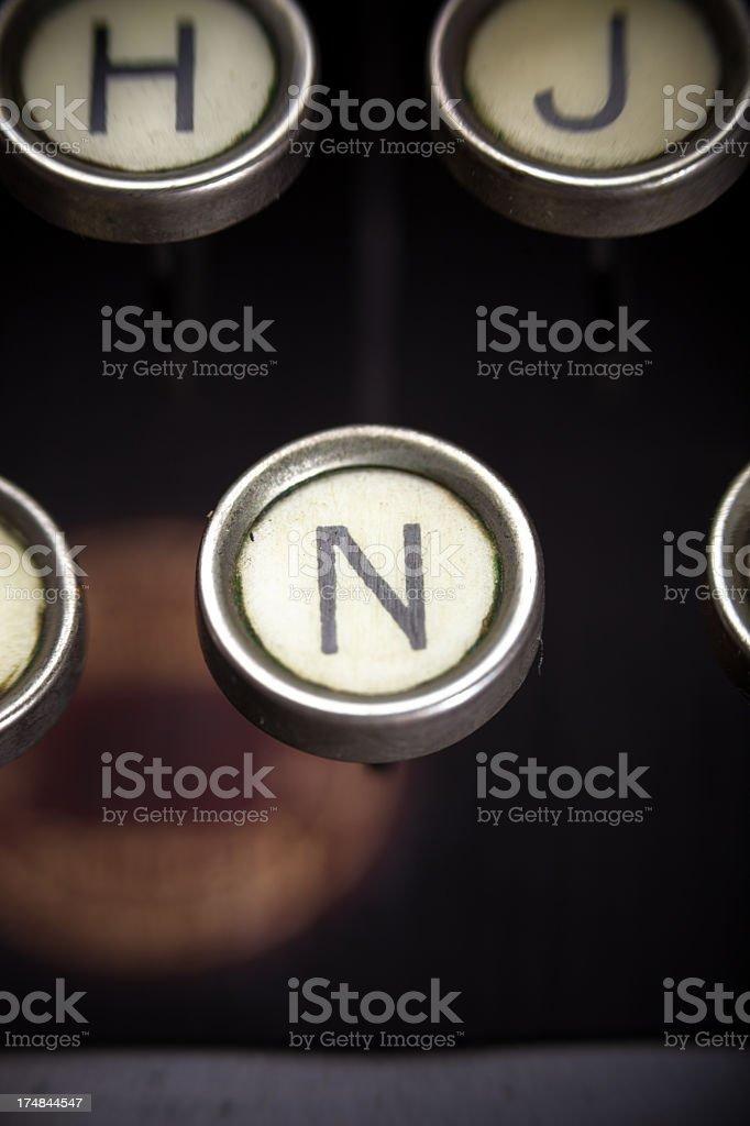 Old Typewriter - N Key royalty-free stock photo