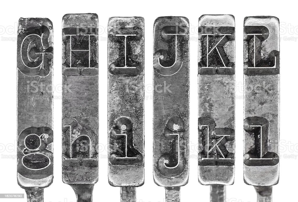 Old Typewriter Typebar Letters G to L Isolated on White royalty-free stock photo