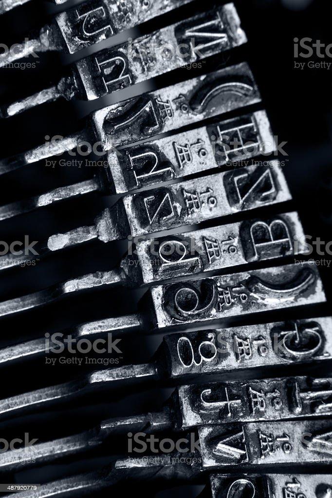 Old typewriter. Typebars closeup. stock photo