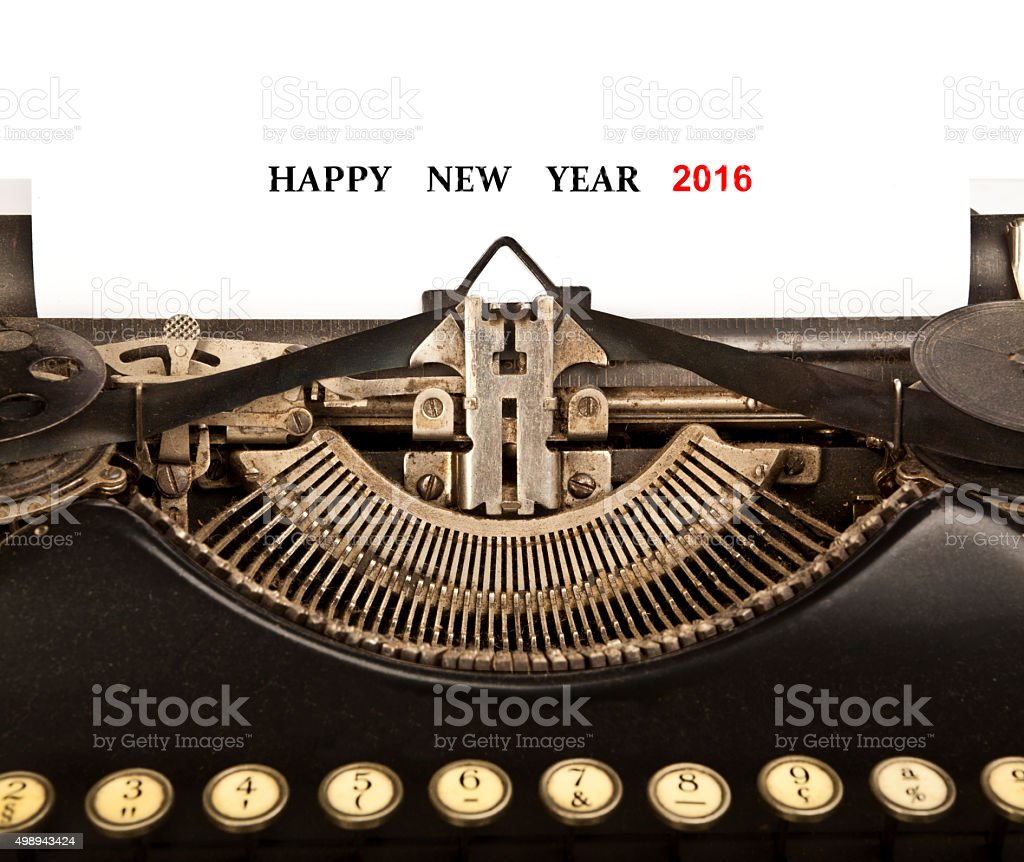 Old Typewriter with the Phrase 'Happy New Year 2016' stock photo