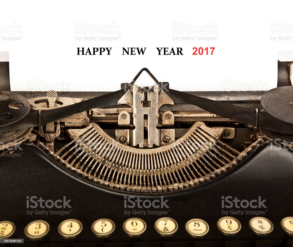 Old Typewriter with the Phrase 'Happy New Year 2017' stock photo