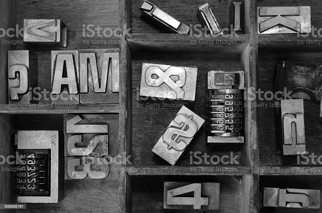 Old typography. Old Metallic Letters and cases. stock photo