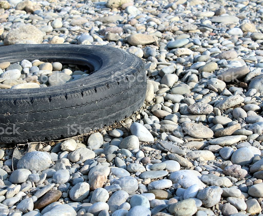 Old tyre abandoned stock photo